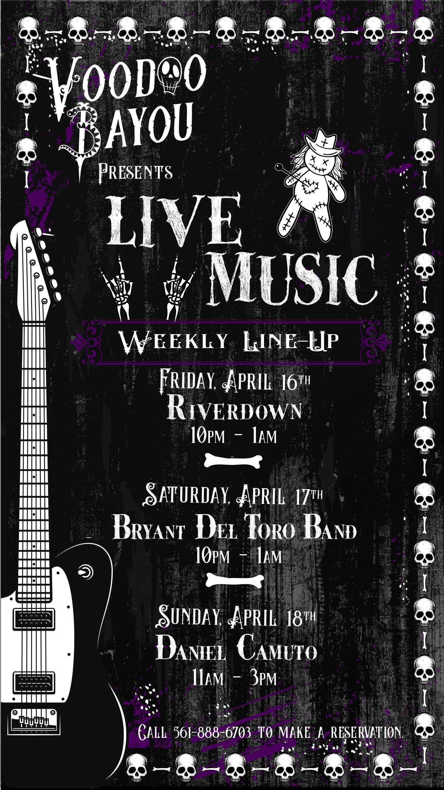 Live Music at Voodoo Bayou starting April 9
